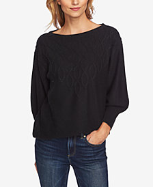 CeCe Step-Stitch Puffed-Sleeve Sweater