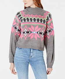 Planet Gold Juniors' Printed Mock-Neck Cropped Sweater