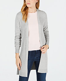 Maison Jules Ribbed-Knit Open-Front Cardigan, Created for Macy's