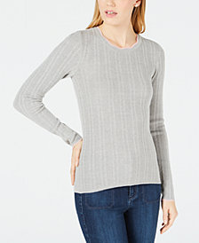 Maison Jules Ribbed-Knit Fitted Sweater, Created for Macy's