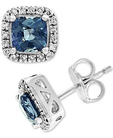 EFFY® Grey Spinel (1-3/8 ct. t.w.) & Diamond (1/8 ct. t.w.) Stud Earrings in 14k White Gold