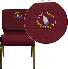 Embroidered Hercules Series 21''W Stacking Church Chair In Burgundy Fabric - Gold Vein Frame