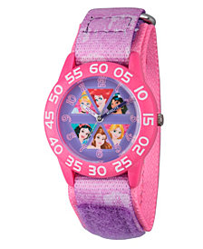 Disney Princess Cinderella, Rapunzel, Ariel, Jasmine, Snow White and Belle Girls' Pink Plastic Time Teacher Watch