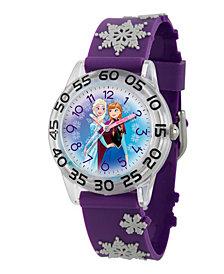 Disney Frozen Elsa and Anna Girls' Clear Plastic Time Teacher Watch