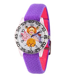 Disney Tigger, Pooh, Goofy, Eeyore and Piglet Girls' Clear Plastic Time Teacher Watch