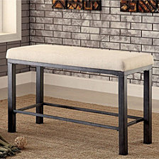 Industrial Style Ivory Counter Height Bench