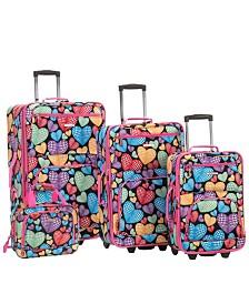 Rockland 4PCE New Heart Softside Luggage Set