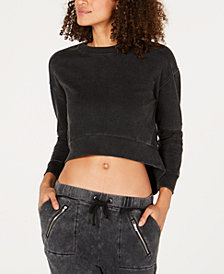 Material Girl Active Juniors' Moto-Detailed Cropped Sweatshirt, Created for Macy's
