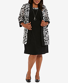 R & M Richards Plus Size Necklace Dress & Printed Jacket