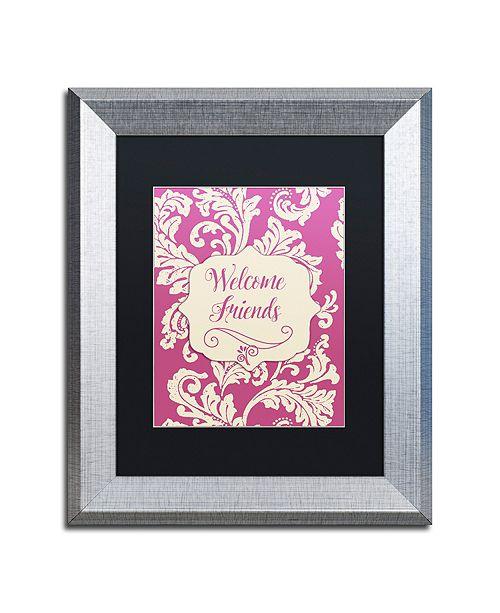 "Trademark Global Color Bakery 'Welcome Flag Pink' Matted Framed Art, 11"" x 14"""