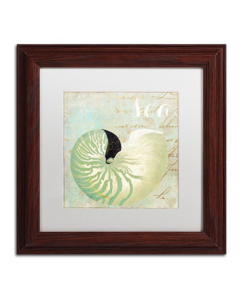 "Trademark Global Color Bakery 'Turquoise Beach I' Matted Framed Art, 11"" x 11"""