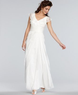 Adrianna Papell Dress, Cap-Sleeve Pleated Empire Waist Tiered Gown