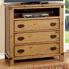 Burnished Pine Wood Media Chest, Brown