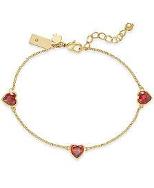 kate spade new york Gold-Tone Crystal Heart Link Bracelet