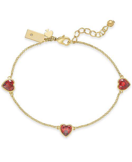 2613d50e72b Gold-Tone Crystal Heart Link Bracelet