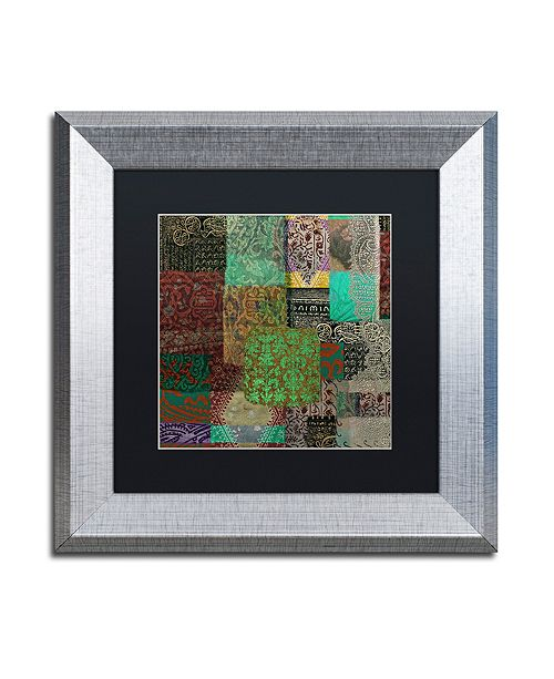 "Trademark Global Color Bakery 'Afrikan Batik Iii' Matted Framed Art, 11"" x 11"""