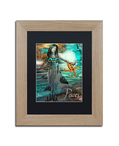"Trademark Global Color Bakery 'Art Nouveau Zodiac Pisces' Matted Framed Art, 11"" x 14"""