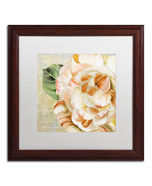 "Trademark Global Color Bakery 'Camellias I' Matted Framed Art, 16"" x 16"""