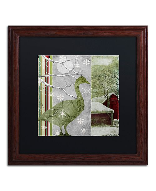 "Trademark Global Color Bakery 'Country Xmas Duck' Matted Framed Art, 16"" x 16"""