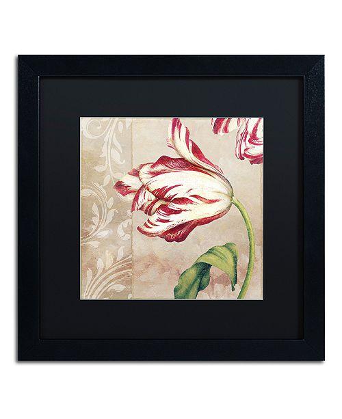 "Trademark Global Color Bakery 'Peppermint Tulips Ii' Matted Framed Art, 16"" x 16"""