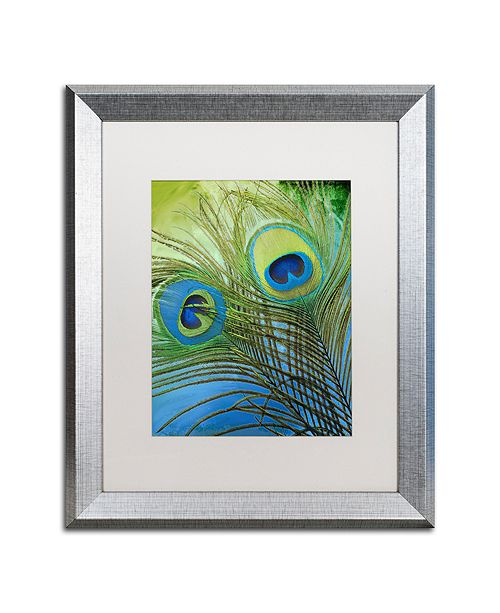 """Trademark Global Color Bakery 'Peacock Candy I' Matted Framed Art, 16"""" x 20"""""""