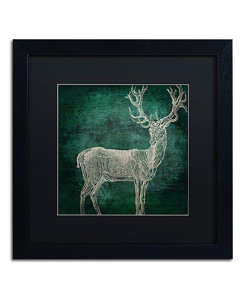 "Trademark Global Color Bakery 'Emerald Deer' Matted Framed Art, 16"" x 16"""