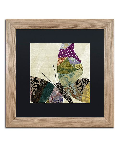 "Trademark Global Color Bakery 'Butterfly Brocade I' Matted Framed Art, 16"" x 16"""