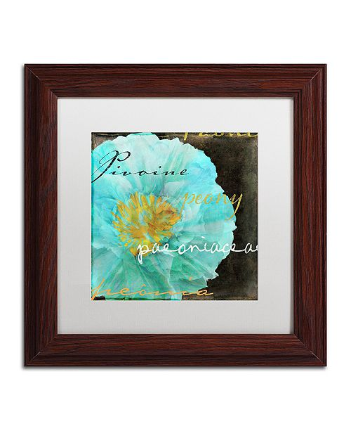 "Trademark Global Color Bakery 'Blue Peony Dark' Matted Framed Art, 11"" x 11"""