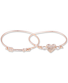 GUESS Rose Gold-Tone 2-Pc. Set Crystal Heart & Arrow Bangle Bracelets