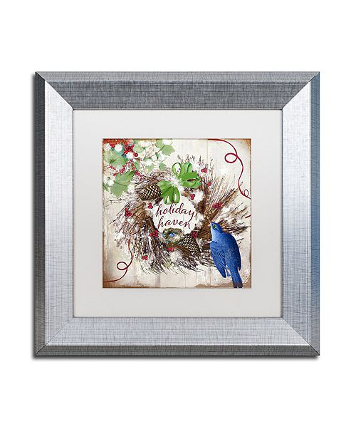 "Trademark Global Color Bakery 'Bluebird Christmas Ii' Matted Framed Art, 11"" x 11"""