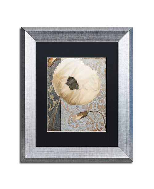 "Trademark Global Color Bakery 'Poppy Brocade I' Matted Framed Art, 11"" x 14"""