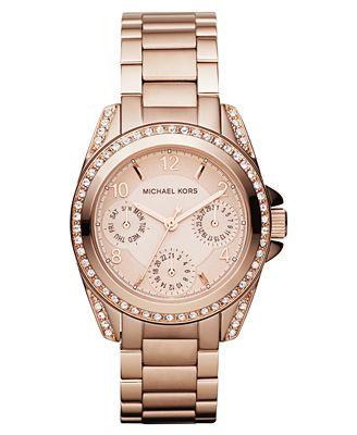 Michael Kors Women's Chronograph Mini Blair Rose Gold-Tone Stainless Steel Bracelet Watch 33mm MK5613