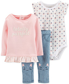 Carter's 3-Pc. Baby Girls Totally Perfect Top, Printed Bodysuit & Cat Jeans Set