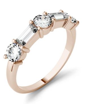 Charles & Colvard 14k White Gold 1 1/6 Carat T.W. Lab-Created Moissanite Baguette Stacker Ring, Women's, Size: 8