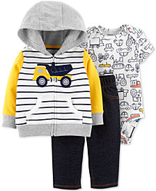 Carter's Baby Boys 3-Pc. Cotton Construction Hoodie, Printed Bodysuit & Jeans Set