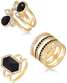 GUESS Gold-Tone 3-Pc. Set Crystal Multi-Row Rings