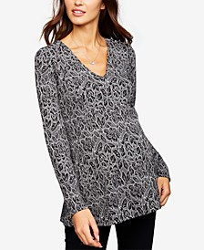 Maternity V-Neck Jacquard Top