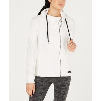 Calvin Klein Performance Asymmetrical-Zip Logo Hooded Fleece Jacket
