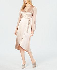 Avec Les Filles Chiffon-Sleeve Wrap Dress