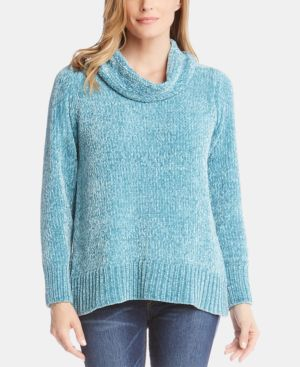 Chenille Cowl Neck Sweater in Jade