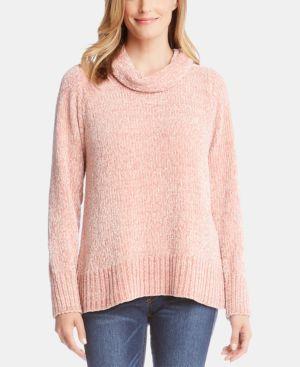 KAREN KANE Chenille Cowl Neck Sweater in Petal Pink