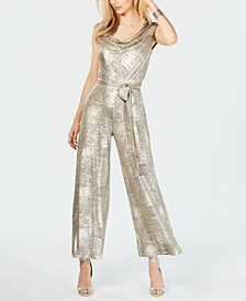 Metallic Cowlneck Jumpsuit