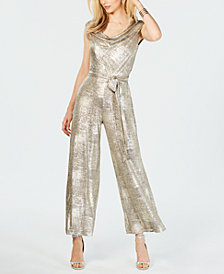 Connected Metallic Cowlneck Jumpsuit