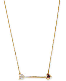 "kate spade new york Gold-Tone Crystal Heart Arrow Pendant Necklace, 18"" + 3"" extender"