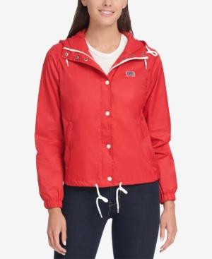 70s Jackets, Furs, Vests, Ponchos Levis Womens Retro Hooded Windbreaker $60.00 AT vintagedancer.com