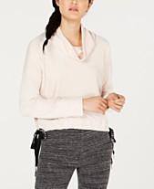 70e3049259a3 Calvin Klein Performance Velour Side-Tie Cowlneck Top