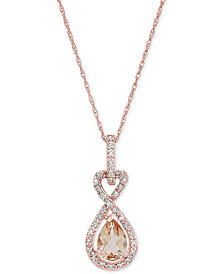 "Morganite (5/8 ct. t.w.) & Diamond Accent 18"" Pendant Necklace in 10k Rose Gold"