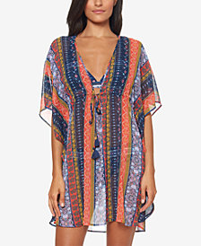 Jessica Simpson Sheer Printed-Stripe Cover-Up