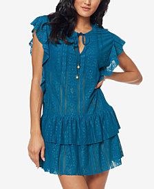 Jessica Simpson Crochet Waist-Frill Ruffle Detail Tunic Cover-Up