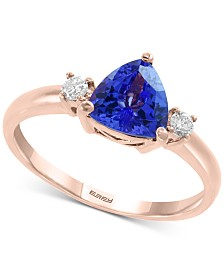 EFFY® Tanzanite (1 ct. t.w.) & Diamond (1/10 ct. t.w.) Ring in 14k Rose Gold